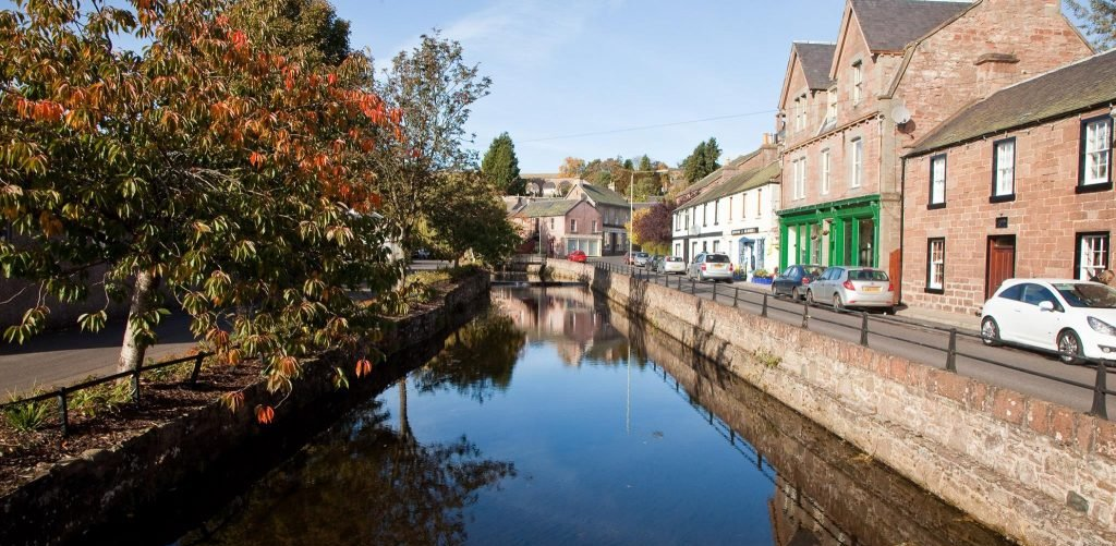 A view of Alyth Burn running through the centre of the town.